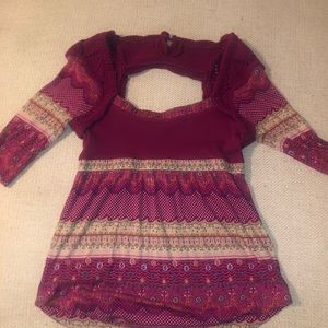 Vintage pink crochet  free people paisley top